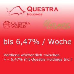 Investiere mit den Profis und verdiene wöchentlich Passiv zwischen 4 – 6,47% mit Questra Holdings Inc.!